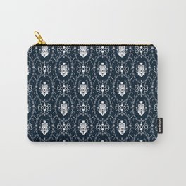 Dark grey damask pattern Carry-All Pouch