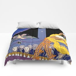 "Erté Illustration ""Harlequin"" in Art Deco Style Comforters"