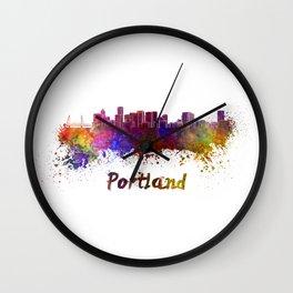 Portland skyline in watercolor Wall Clock