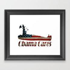 Obama Cares Framed Art Print