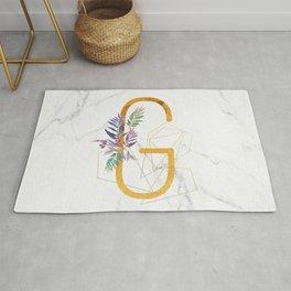 Modern glamorous personalized gold initial letter G, Custom initial name monogram gold alphabet prin Rug