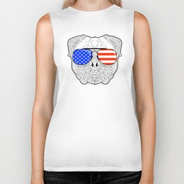 Patriotic July 4th American Flag Pug Dog Face with Sunglasses for Independence Day Celebrations Biker Tank