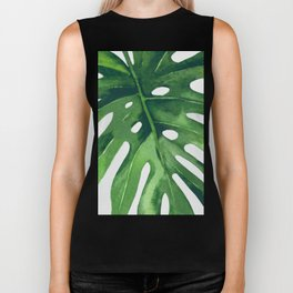Monstera Leaf Biker Tank