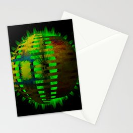 Yellow Layered Star in Green Flames Stationery Cards
