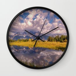 The Grand Tetons Autumn OLena Art Fall Colors Photography Wall Clock