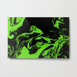 Green & Black liquid ink Metal Print