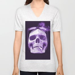 Skull Smoking Cigarette Purple Unisex V-Neck