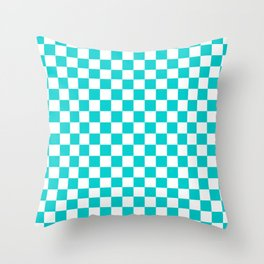 White and Cyan Checkerboard Throw Pillow