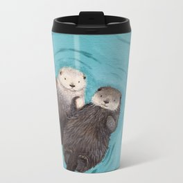 Otterly Romantic - Otters Holding Hands Metal Travel Mug