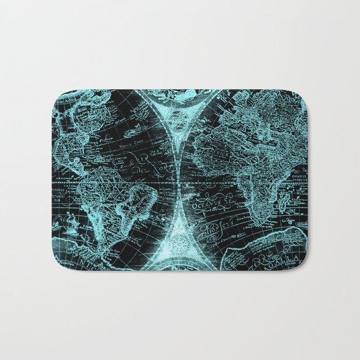 Antique World Map Turquoise Teal Blue Green Bath Mat