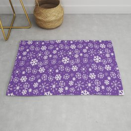Snowflake Snowstorm With Purple Background Rug