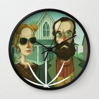 gothic Wall Clocks featuring American Gothic High by Steve Simpson