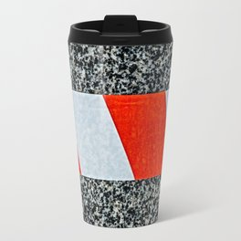 Red warning tape across granite stone Travel Mug