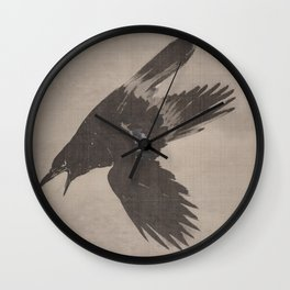 Crow Flying in the Snow by Kawanabe Kyosai Wall Clock