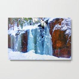 Blue Icefall Metal Print