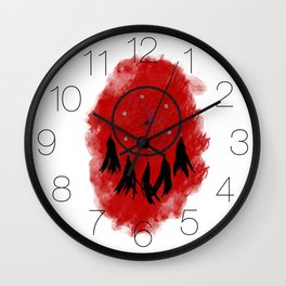 Dreamcatcher crow: Red background Wall Clock
