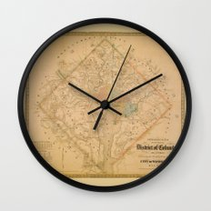 Civil War Washington D.C. Map Wall Clock