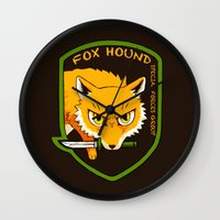metal gear solid Wall Clocks featuring Metal Gear Solid - Chibi Foxhound by feriowind