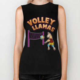 Volley Llama Present Volleyball Sport Team Women Gift Biker Tank