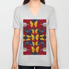 RED-WHITE ROSES & YELLOW BUTTERFLIES GARDEN Unisex V-Neck