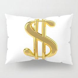 Gold Dollar Sign on White Pillow Sham