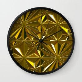 3-D Art Deco 24-Karat Gold Hues Tile Pattern Wall Clock