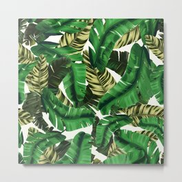 Swaying banana leaf palm green Metal Print
