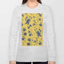 Elegant Blue Passion Flower on Mustard Yellow Long Sleeve T-shirt