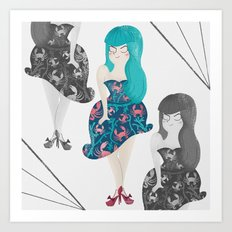 RETRO BLUE Art Print