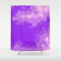 8bit Shower Curtains featuring Purple Nebula (8bit) by Sarajea