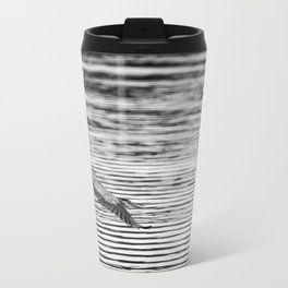 A Great Blue Heron Flying Over Cool Water Ripples Travel Mug