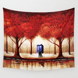 Tardis Cloud - Red Wall Tapestry