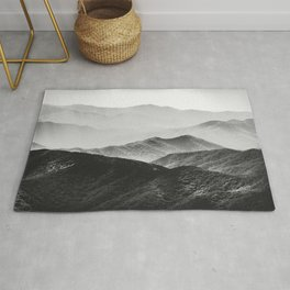 Glimpse - Black and White Mountains Landscape Nature Photography Rug
