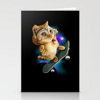 skateboard Stationery Cards featuring SKATEBOARD CAT by ADAMLAWLESS