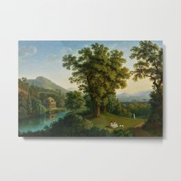 River Landscape with Elements of the English Garden at Caserta, Italy by Jakob Philipp Hackert Metal Print