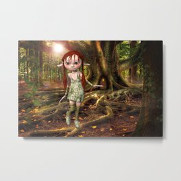 Elf and Treehouse Metal Print