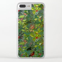 Christmas Pattern with Green Background Clear iPhone Case