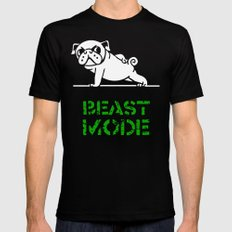 Beast Mode Pug Black Mens Fitted Tee LARGE