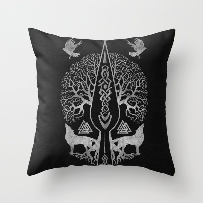 Gungnir - Spear of Odin and Tree of life  -Yggdrasil Throw Pillow