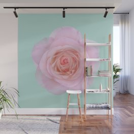 rose by another name: pink ghost on eau de nil Wall Mural