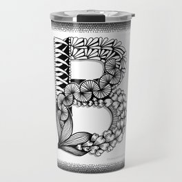 Zentangle B Monogram Alphabet Initial Travel Mug