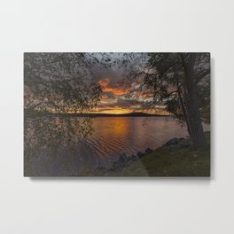 Photo USA Meredith Bay Nature Sunrises and sunsets stone Rivers Branches Trees sunrise and sunset river Stones Metal Print