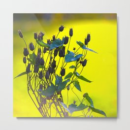 Still Beautiful - Flower Silhouette On a Green Background #society6 Metal Print