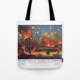 NEW YORK FIREWORKS city old map Father Day art print poster Tote Bag