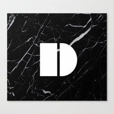Black Marble - Alphabet D Canvas Print
