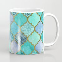 decorative Mugs featuring Cool Jade & Icy Mint Decorative Moroccan Tile Pattern by micklyn