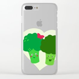 Broccoli in love Clear iPhone Case
