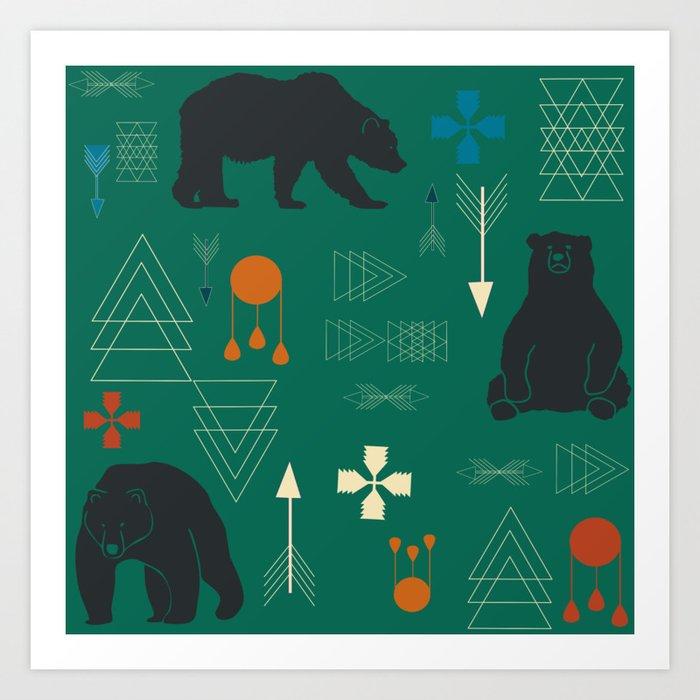 Tribal bear Green Art Print