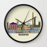 dc Wall Clocks featuring washington dc  by bri.buckley