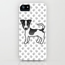 Black And White Smooth Coat Jack Russell Terrier Dog Cute Cartoon Illustration iPhone Case